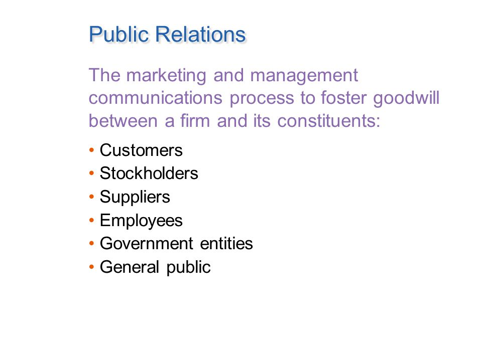 Public Relations The marketing and management communications process to foster goodwill between a firm and its constituents: Customers Stockholders Suppliers Employees Government entities General public