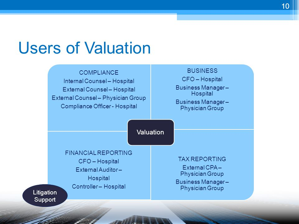 Users of Valuation COMPLIANCE Internal Counsel – Hospital External Counsel – Hospital External Counsel – Physician Group Compliance Officer - Hospital BUSINESS CFO – Hospital Business Manager – Hospital Business Manager – Physician Group FINANCIAL REPORTING CFO – Hospital External Auditor – Hospital Controller – Hospital TAX REPORTING External CPA – Physician Group Business Manager – Physician Group Valuation Litigation Support 10