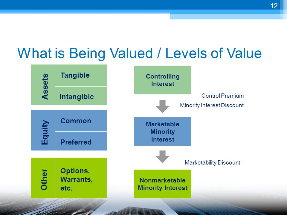 What is Being Valued / Levels of Value Equity Assets Common Preferred Tangible Intangible Other Options, Warrants, etc.