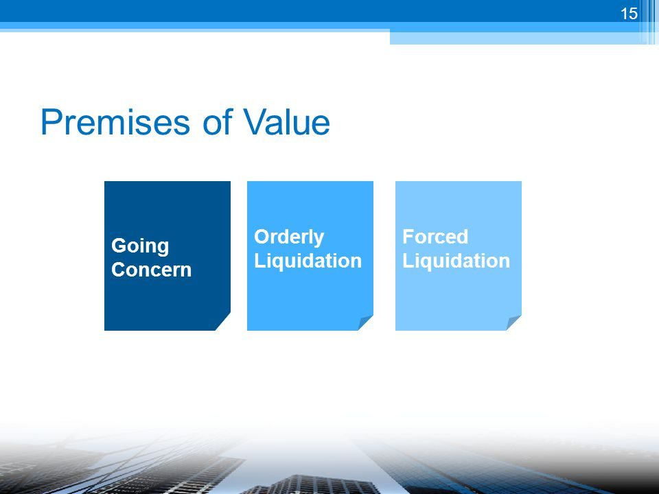 Premises of Value Orderly Liquidation Forced Liquidation Going Concern 15