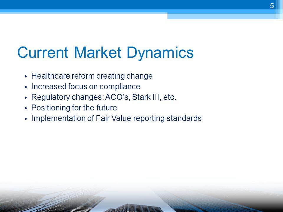 Healthcare reform creating change Increased focus on compliance Regulatory changes: ACO's, Stark III, etc.