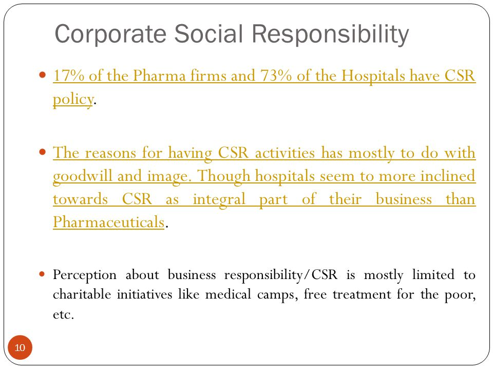 Corporate Social Responsibility 17% of the Pharma firms and 73% of the Hospitals have CSR policy. 17% of the Pharma firms and 73% of the Hospitals hav