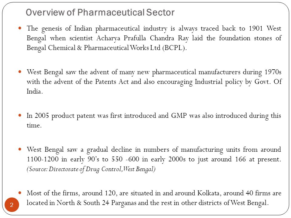 Overview of Pharmaceutical Sector The genesis of Indian pharmaceutical industry is always traced back to 1901 West Bengal when scientist Acharya Prafu