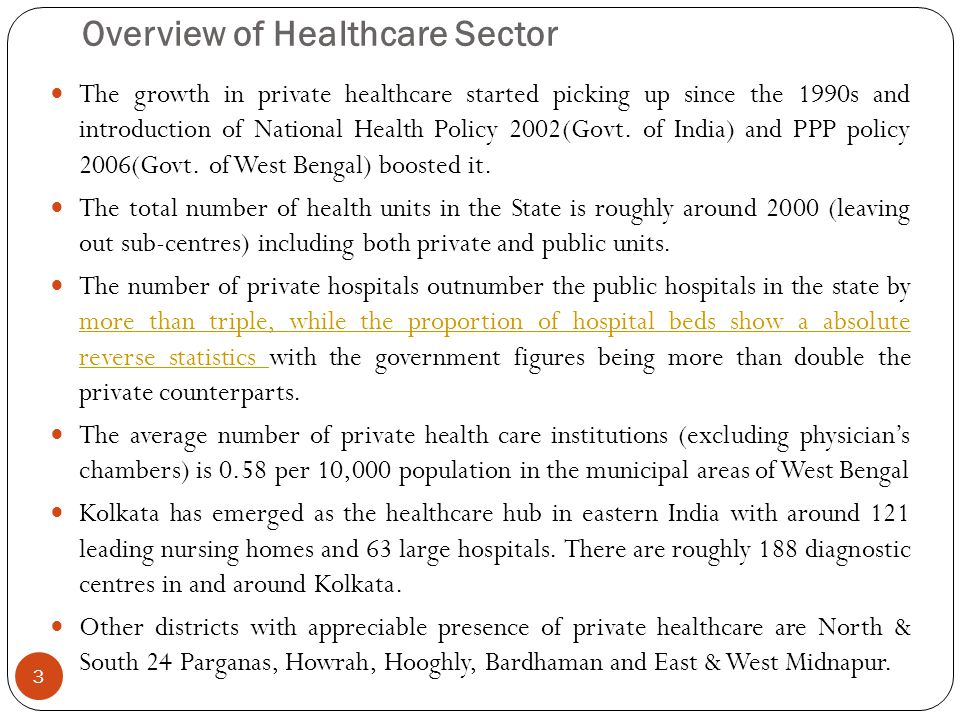 Overview of Healthcare Sector The growth in private healthcare started picking up since the 1990s and introduction of National Health Policy 2002(Govt