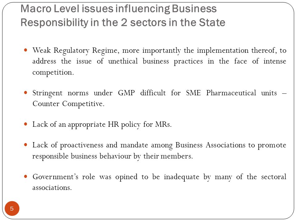 Macro Level issues influencing Business Responsibility in the 2 sectors in the State Weak Regulatory Regime, more importantly the implementation there