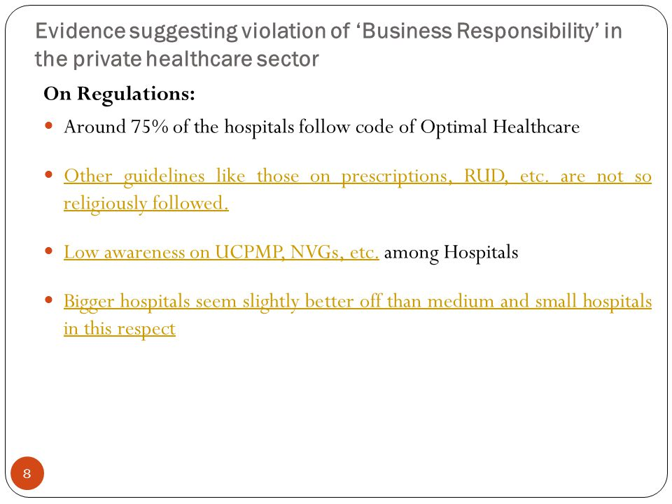 Evidence suggesting violation of 'Business Responsibility' in the private healthcare sector On Regulations: Around 75% of the hospitals follow code of