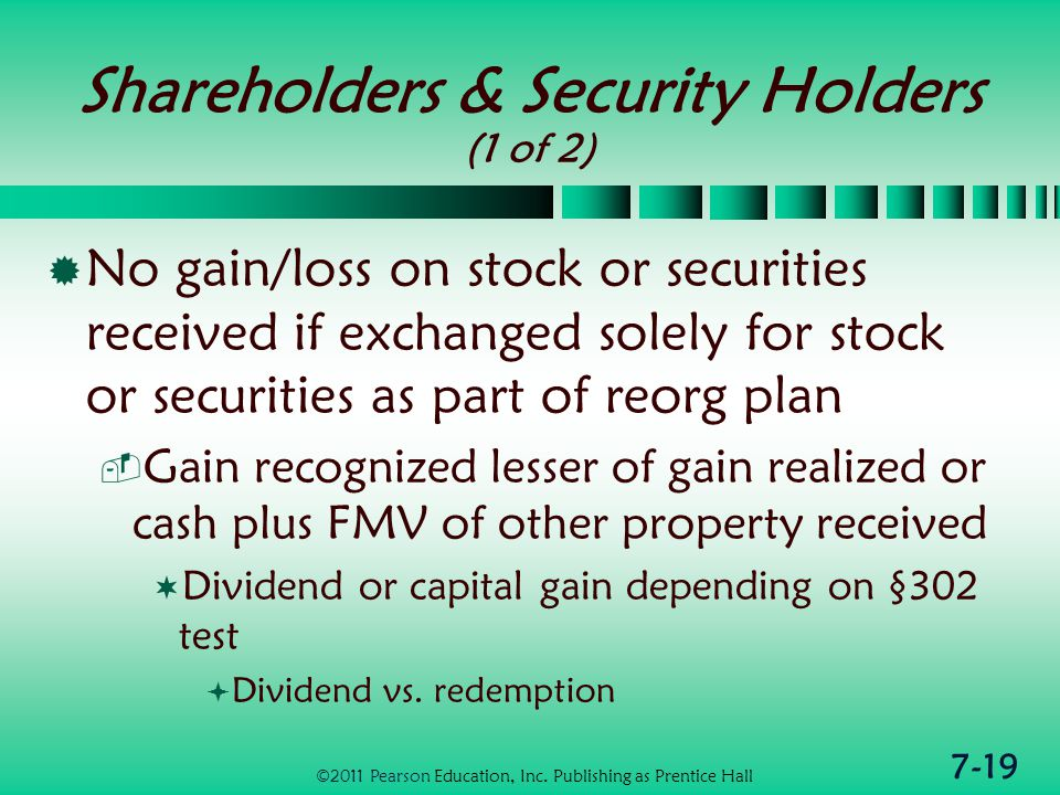 7-19 Shareholders & Security Holders (1 of 2)  No gain/loss on stock or securities received if exchanged solely for stock or securities as part of reorg plan  Gain recognized lesser of gain realized or cash plus FMV of other property received  Dividend or capital gain depending on §302 test  Dividend vs.