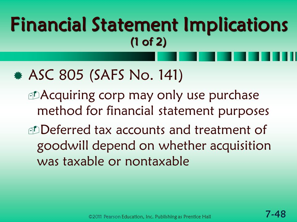 7-48 Financial Statement Implications (1 of 2)  ASC 805 (SAFS No.