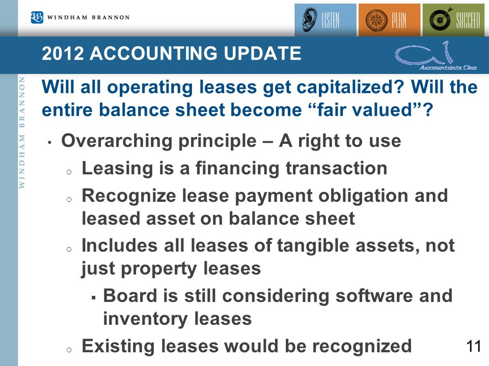 2012 ACCOUNTING UPDATE Will all operating leases get capitalized.