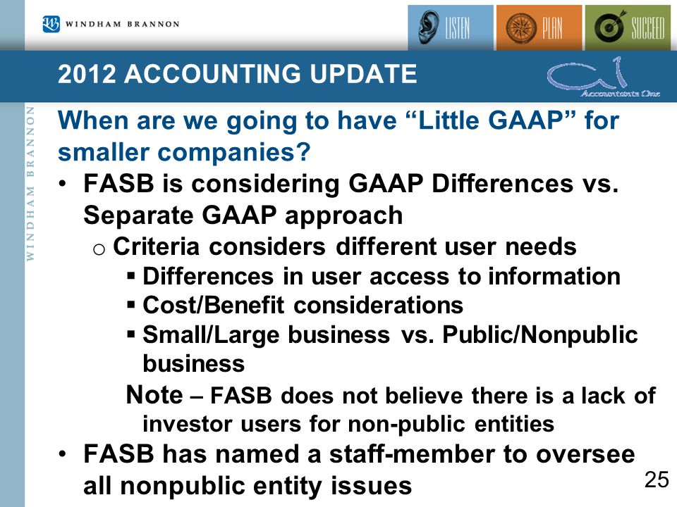 2012 ACCOUNTING UPDATE When are we going to have Little GAAP for smaller companies.