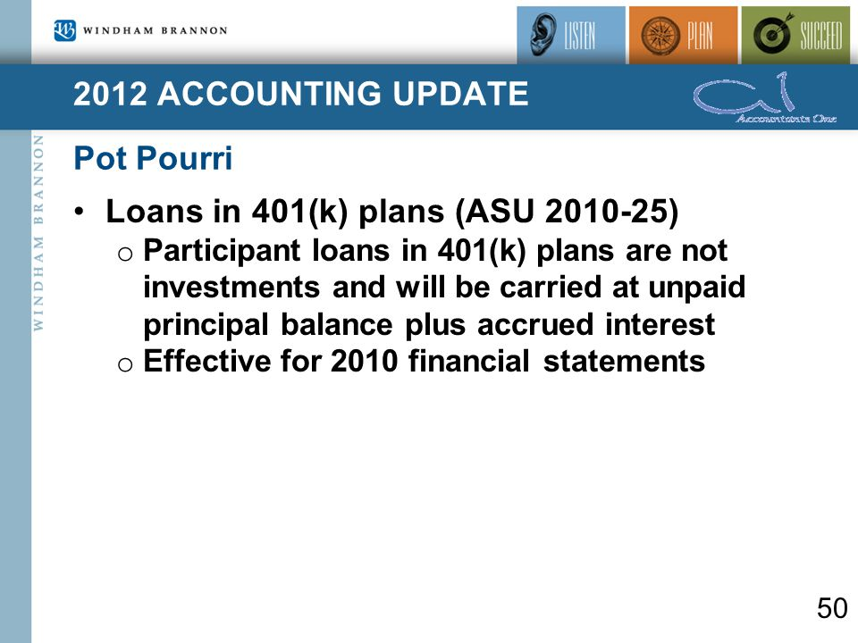 2012 ACCOUNTING UPDATE Pot Pourri 50 Loans in 401(k) plans (ASU 2010-25) o Participant loans in 401(k) plans are not investments and will be carried at unpaid principal balance plus accrued interest o Effective for 2010 financial statements
