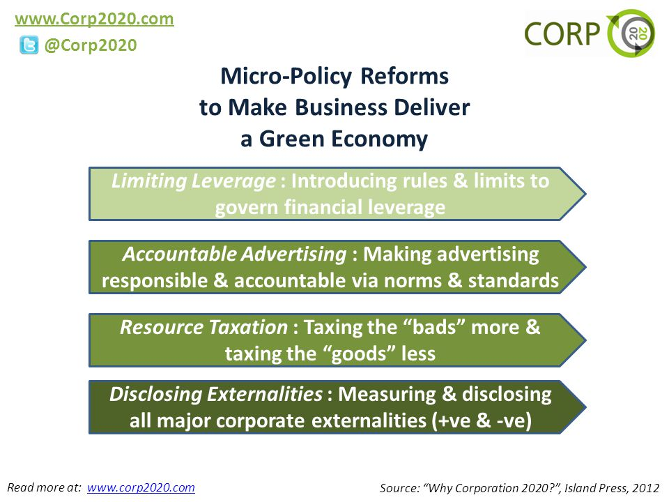 www.Corp2020.com @Corp2020 Micro-Policy Reforms to Make Business Deliver a Green Economy Source: Why Corporation 2020 , Island Press, 2012 Resource Taxation : Taxing the bads more & taxing the goods less Limiting Leverage : Introducing rules & limits to govern financial leverage Accountable Advertising : Making advertising responsible & accountable via norms & standards Disclosing Externalities : Measuring & disclosing all major corporate externalities (+ve & -ve) Read more at: www.corp2020.comwww.corp2020.com