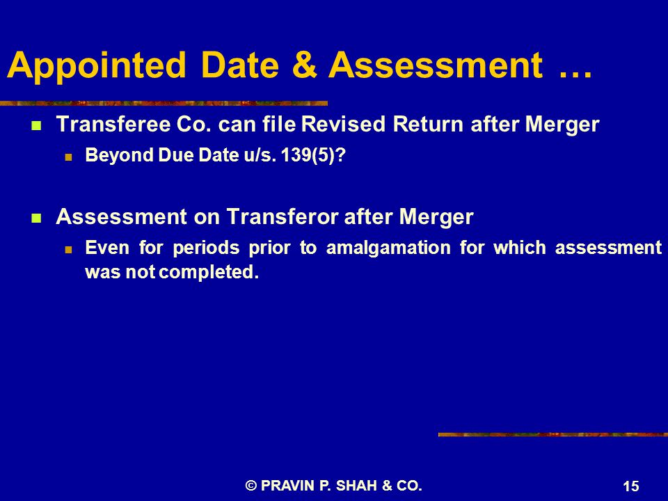 Appointed Date & Assessment … Transferee Co.