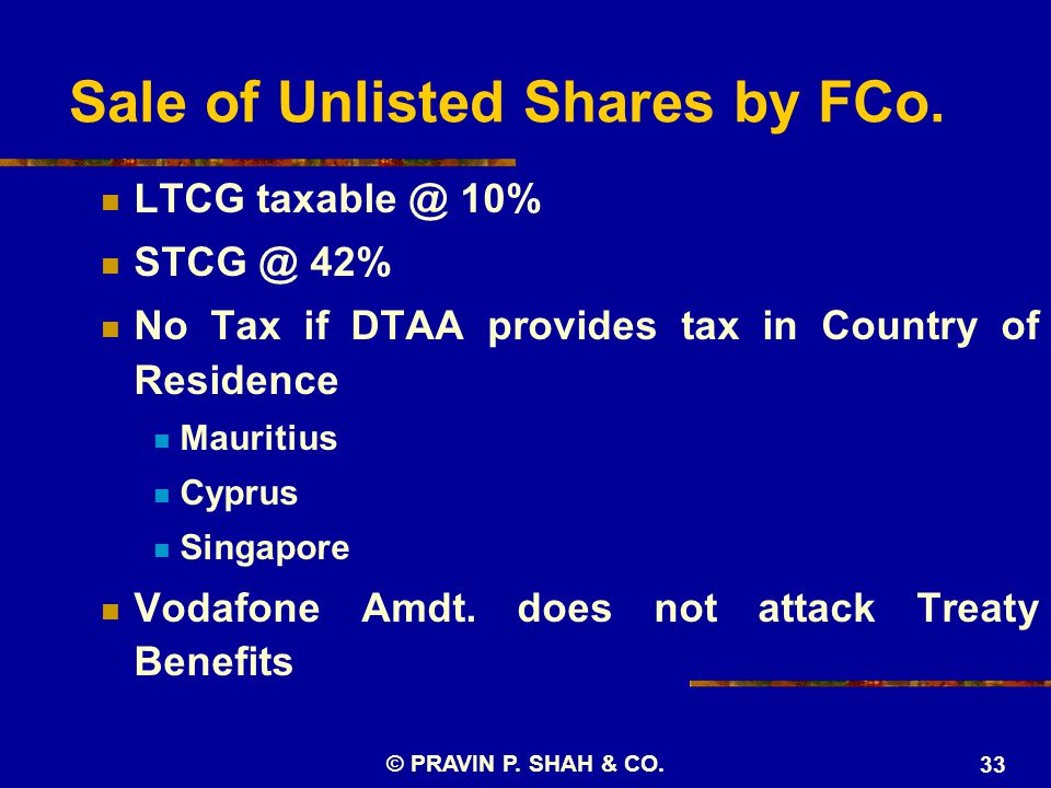 Sale of Unlisted Shares by FCo.