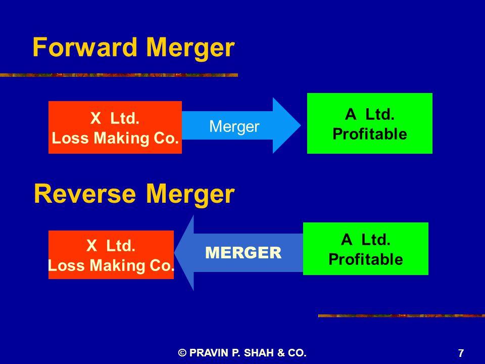 7 Forward Merger X Ltd. Loss Making Co. A Ltd. Profitable Merger Reverse Merger X Ltd. Loss Making Co. MERGER A Ltd. Profitable