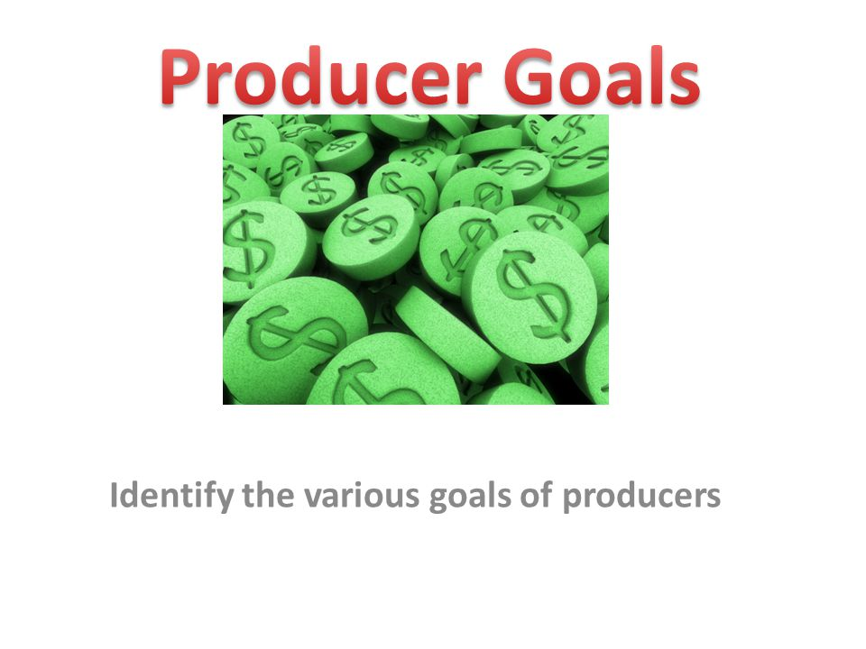 Producer Goals Producers have many different goals beyond what is obvious.