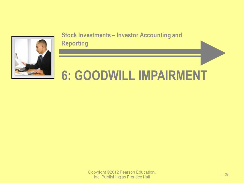 6: GOODWILL IMPAIRMENT Stock Investments – Investor Accounting and Reporting Copyright ©2012 Pearson Education, Inc. Publishing as Prentice Hall 2-35