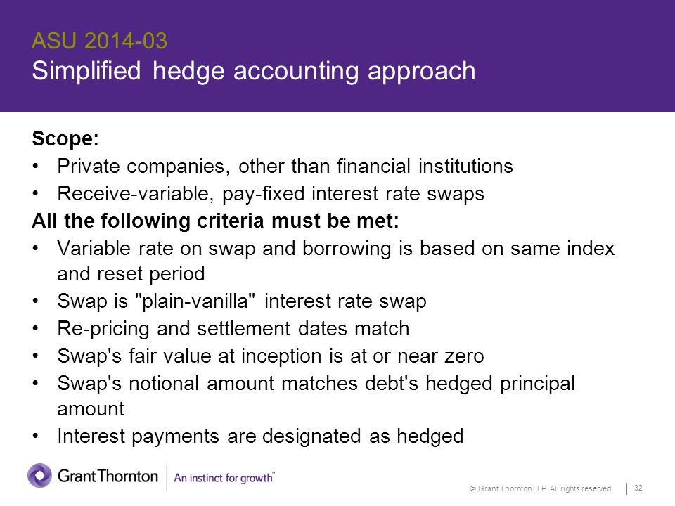 © Grant Thornton LLP. All rights reserved. 32 ASU 2014-03 Simplified hedge accounting approach Scope: Private companies, other than financial institut