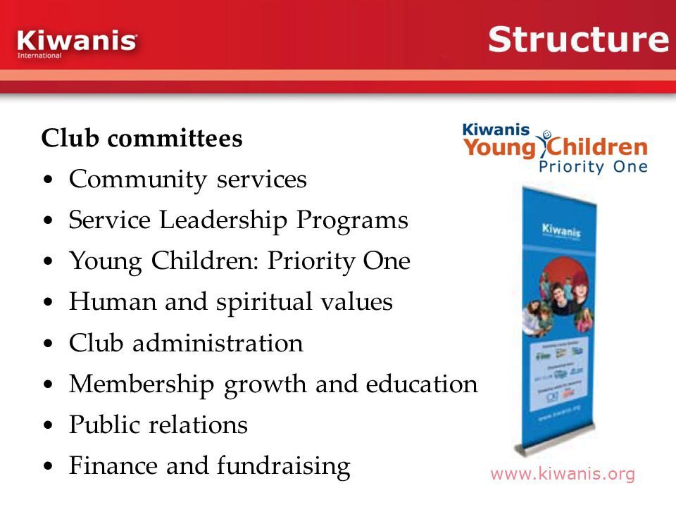 www.kiwanis.org Club committees Community services Service Leadership Programs Young Children: Priority One Human and spiritual values Club administration Membership growth and education Public relations Finance and fundraising