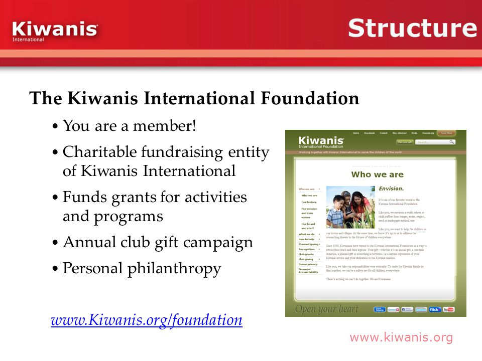 www.kiwanis.org The Kiwanis International Foundation You are a member.