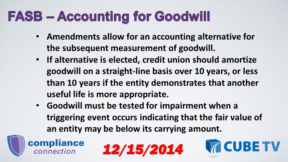 12/15/2014 Amendments allow for an accounting alternative for the subsequent measurement of goodwill.