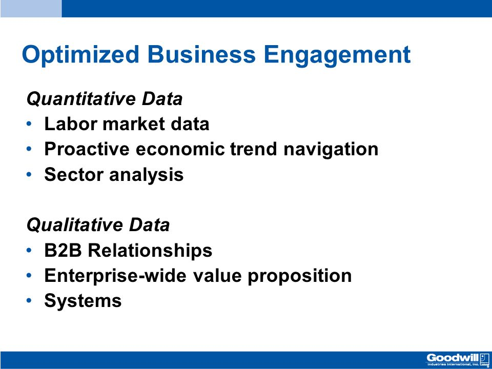Quantitative Data Labor market data Proactive economic trend navigation Sector analysis Qualitative Data B2B Relationships Enterprise-wide value proposition Systems