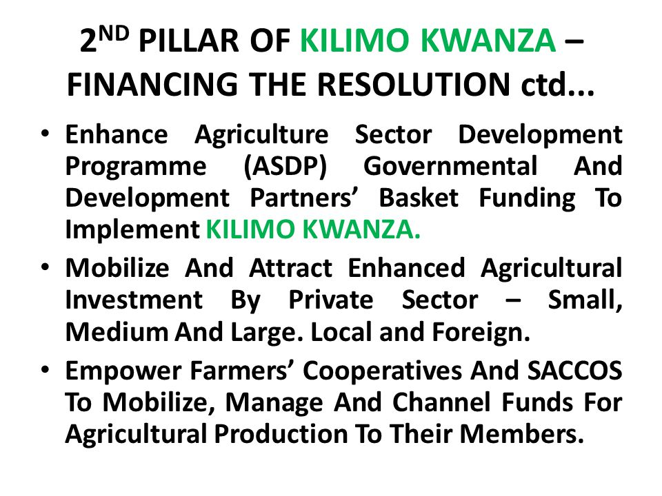 2 ND PILLAR OF KILIMO KWANZA – FINANCING THE RESOLUTION ctd...