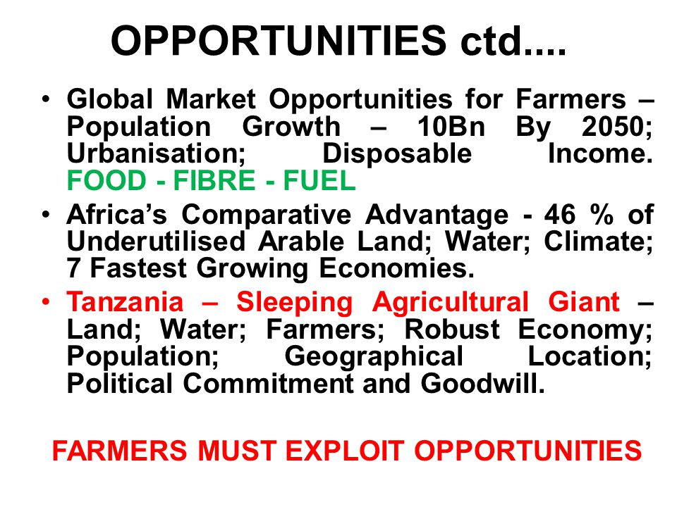 OPPORTUNITIES ctd....