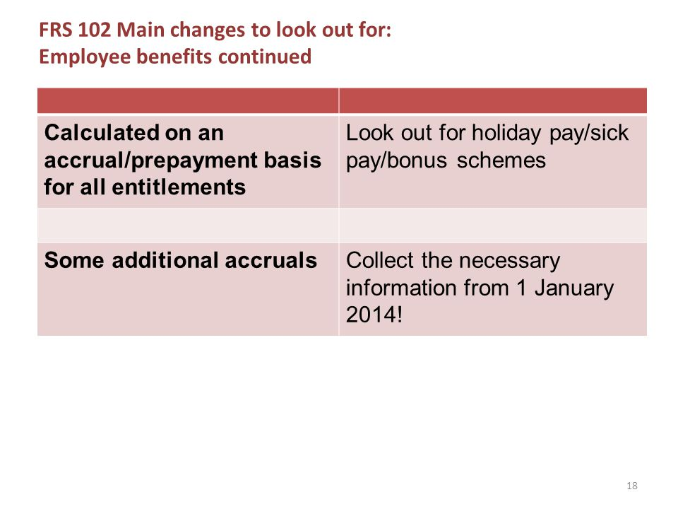 FRS 102 Main changes to look out for: Employee benefits continued Calculated on an accrual/prepayment basis for all entitlements Look out for holiday pay/sick pay/bonus schemes Some additional accrualsCollect the necessary information from 1 January 2014.