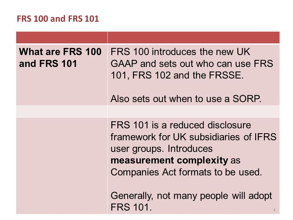 FRS 100 and FRS 101 What are FRS 100 and FRS 101 FRS 100 introduces the new UK GAAP and sets out who can use FRS 101, FRS 102 and the FRSSE.