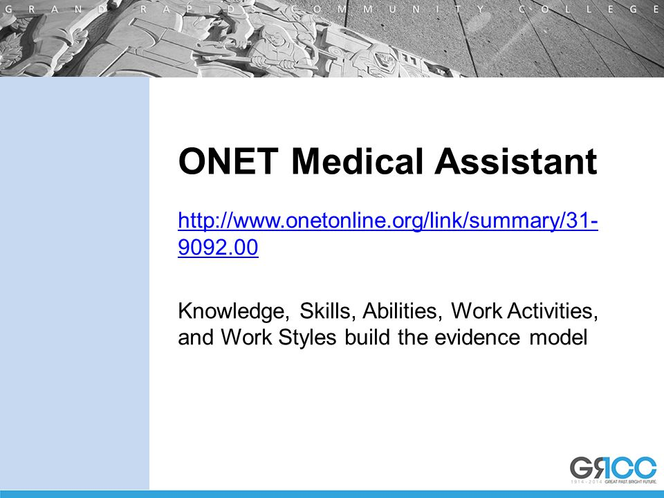 ONET Medical Assistant http://www.onetonline.org/link/summary/31- 9092.00 Knowledge, Skills, Abilities, Work Activities, and Work Styles build the evidence model