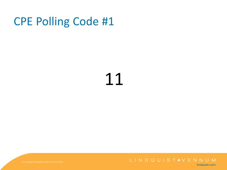 CPE Polling Code #1 11