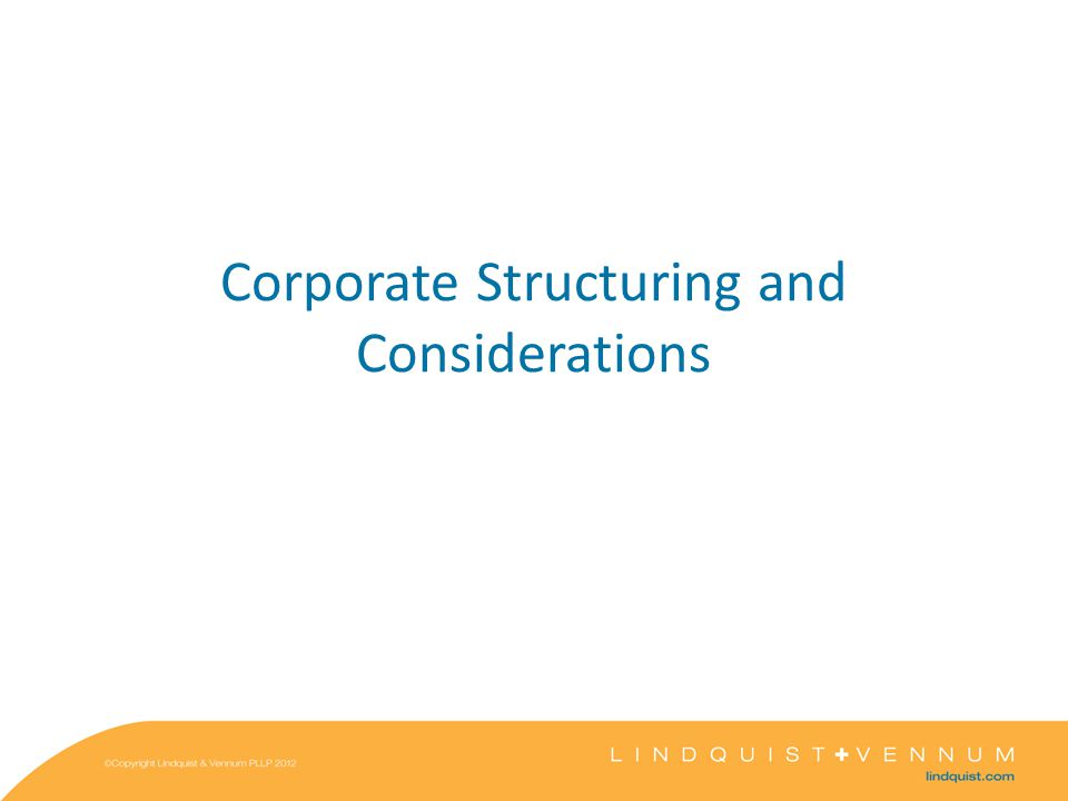 Corporate Structuring and Considerations