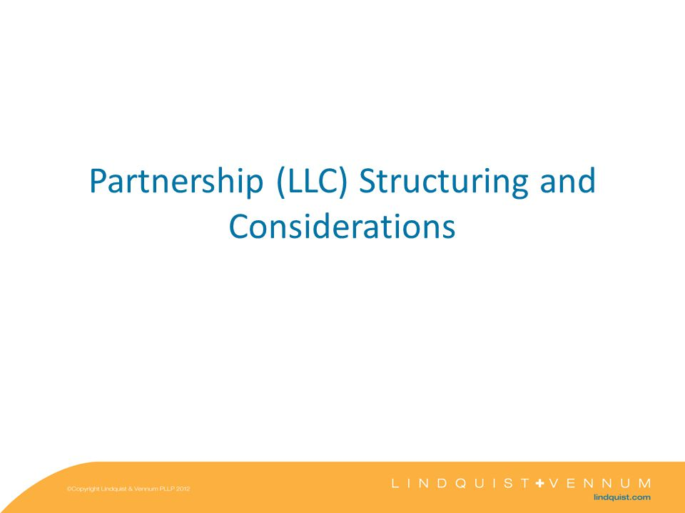 Partnership (LLC) Structuring and Considerations