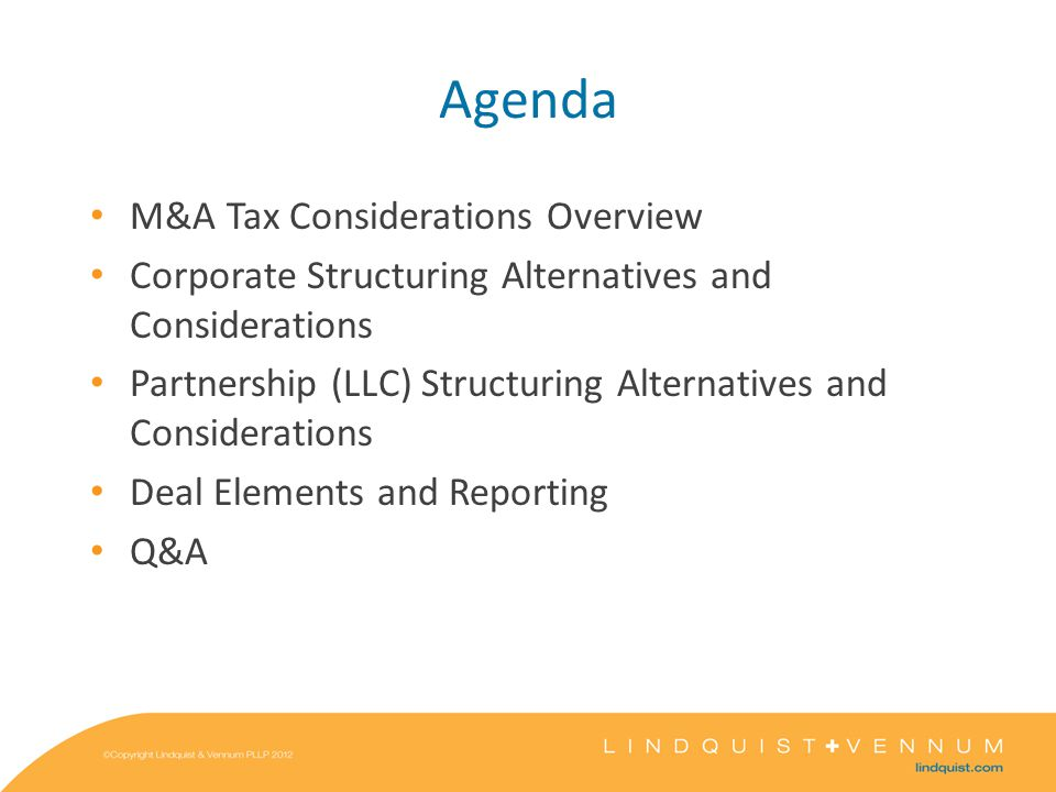 M&A Tax Considerations Overview