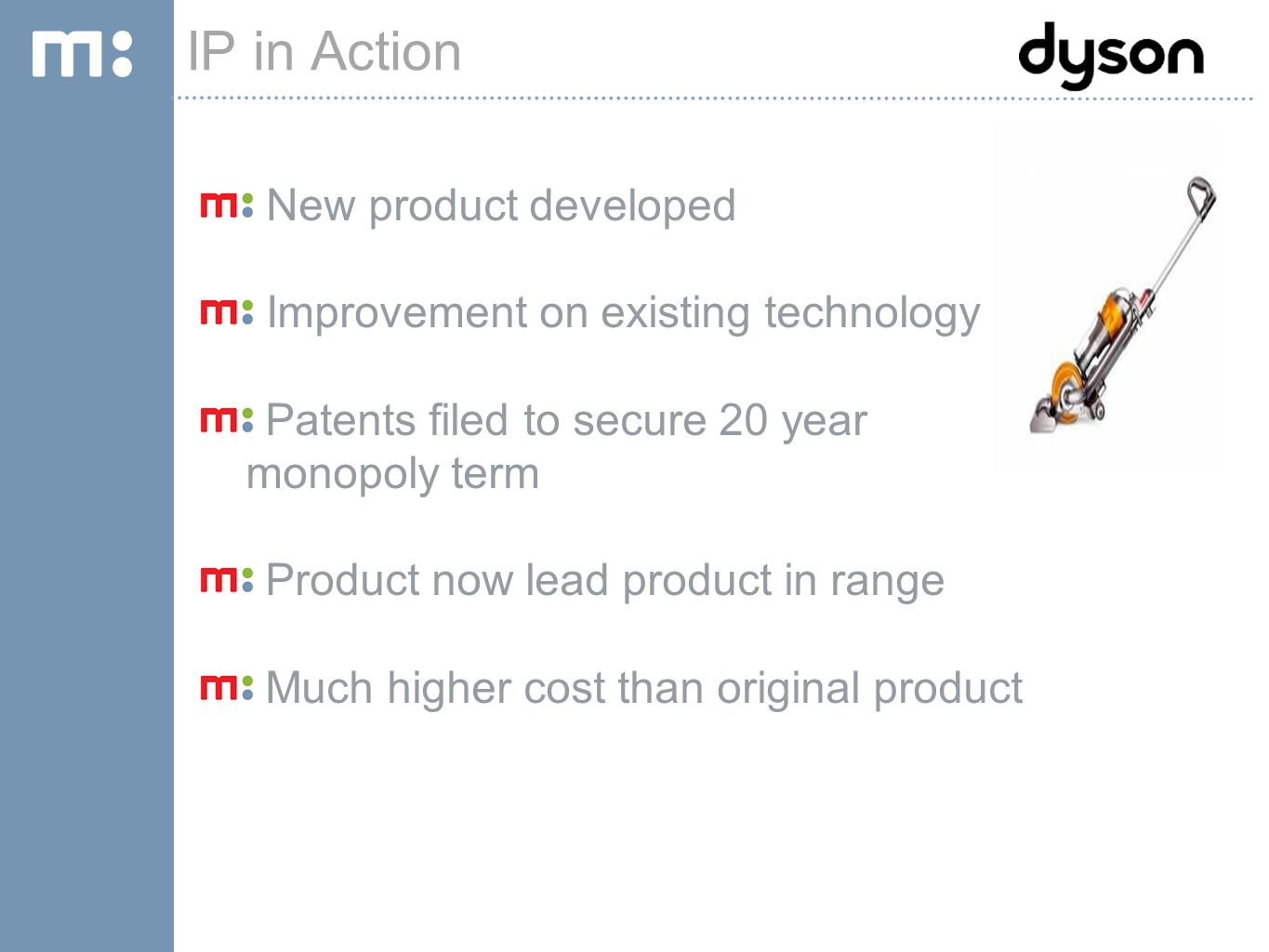 IP PORTAL TOUR IP in Action New product developed Improvement on existing technology Patents filed to secure 20 year monopoly term Product now lead product in range Much higher cost than original product