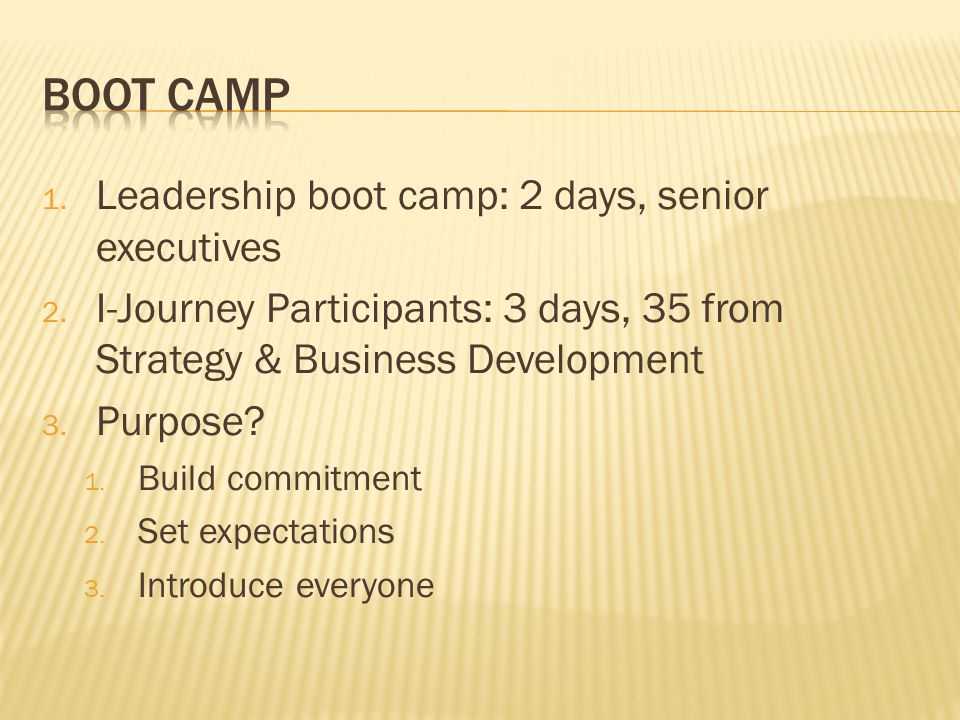 1. Leadership boot camp: 2 days, senior executives 2. I-Journey Participants: 3 days, 35 from Strategy & Business Development 3. Purpose? 1. Build com