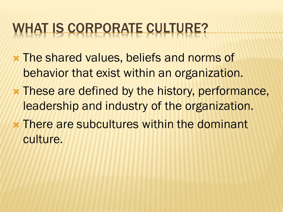  The shared values, beliefs and norms of behavior that exist within an organization.  These are defined by the history, performance, leadership and