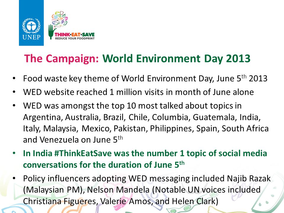 The Campaign: World Environment Day 2013 Food waste key theme of World Environment Day, June 5 th 2013 WED website reached 1 million visits in month o