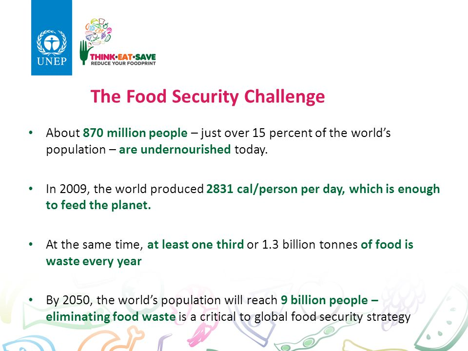 The Food Security Challenge About 870 million people – just over 15 percent of the world's population – are undernourished today. In 2009, the world p