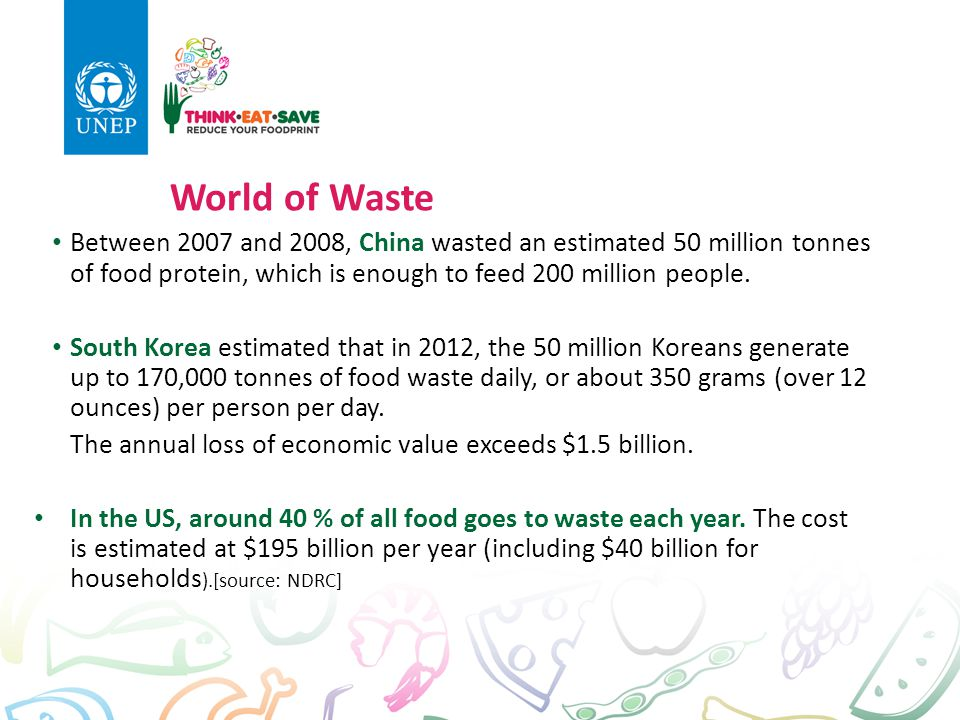 Between 2007 and 2008, China wasted an estimated 50 million tonnes of food protein, which is enough to feed 200 million people. South Korea estimated