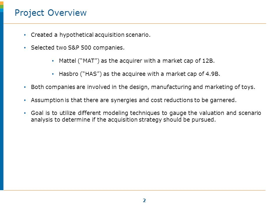 2 Created a hypothetical acquisition scenario. Selected two S&P 500 companies.