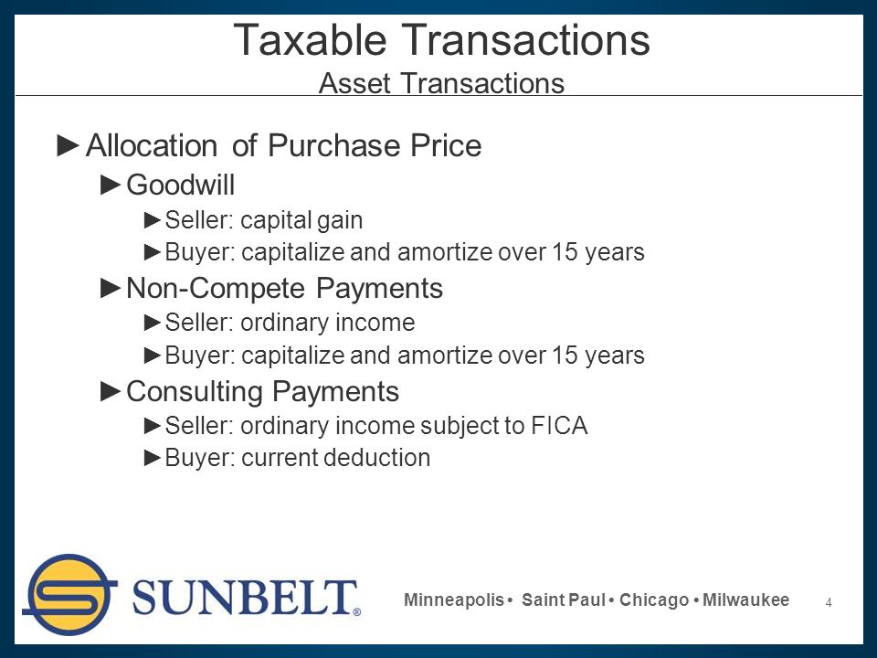 4 Minneapolis Saint Paul Chicago Milwaukee Taxable Transactions Asset Transactions ►Allocation of Purchase Price ►Goodwill ►Seller: capital gain ►Buye