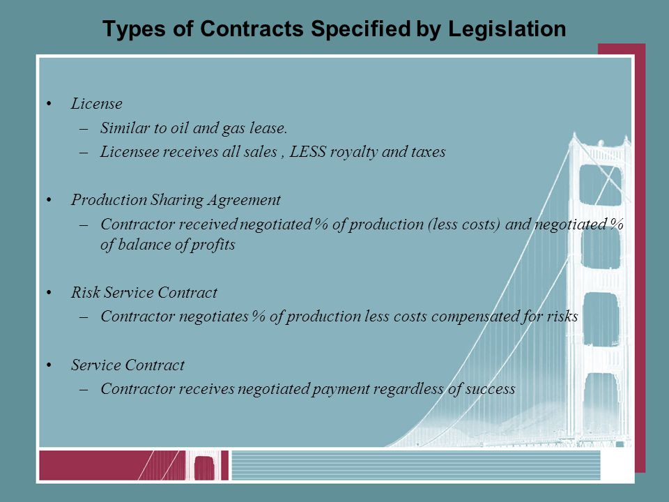 Types of Contracts Specified by Legislation License –Similar to oil and gas lease.