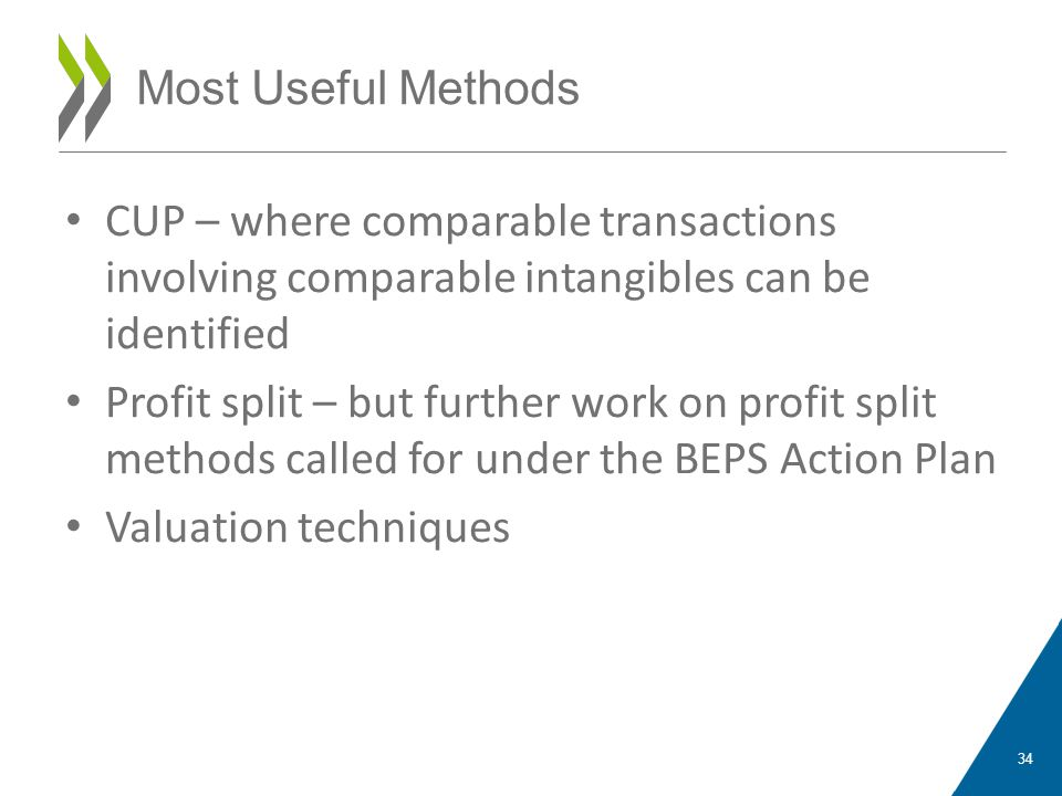 CUP – where comparable transactions involving comparable intangibles can be identified Profit split – but further work on profit split methods called for under the BEPS Action Plan Valuation techniques 34 Most Useful Methods