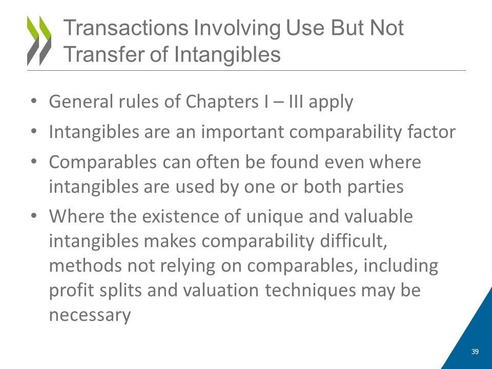 General rules of Chapters I – III apply Intangibles are an important comparability factor Comparables can often be found even where intangibles are used by one or both parties Where the existence of unique and valuable intangibles makes comparability difficult, methods not relying on comparables, including profit splits and valuation techniques may be necessary 39 Transactions Involving Use But Not Transfer of Intangibles