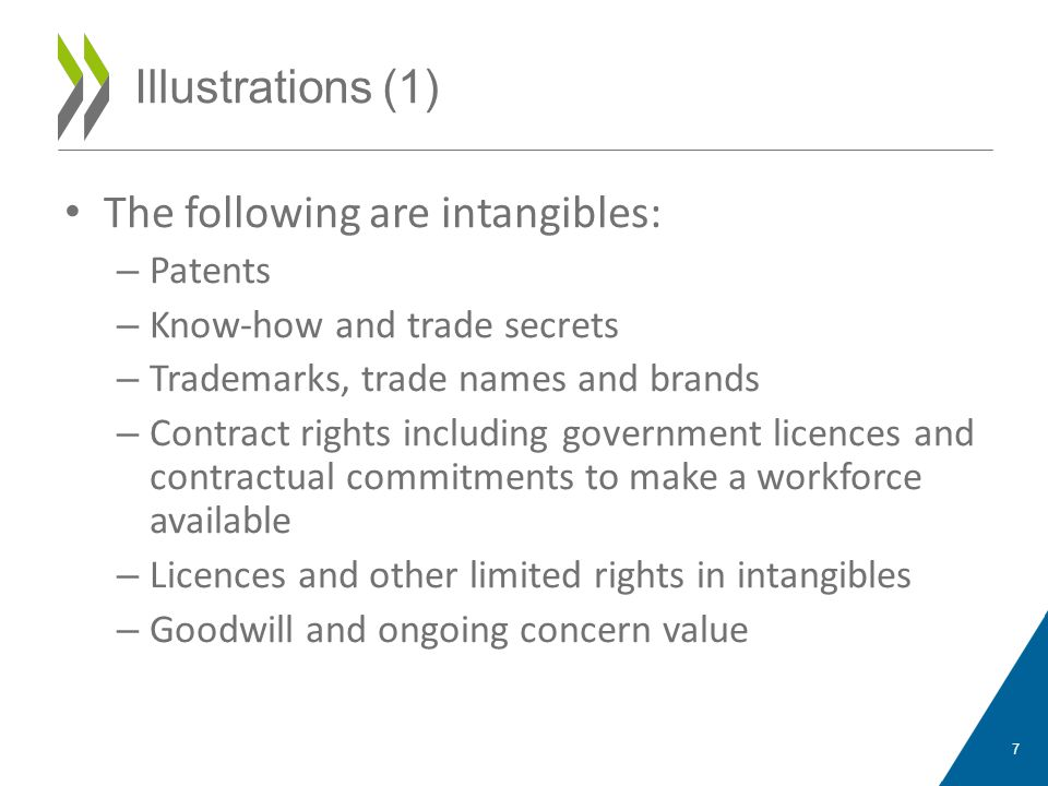 The following are intangibles: – Patents – Know-how and trade secrets – Trademarks, trade names and brands – Contract rights including government licences and contractual commitments to make a workforce available – Licences and other limited rights in intangibles – Goodwill and ongoing concern value 7 Illustrations (1)