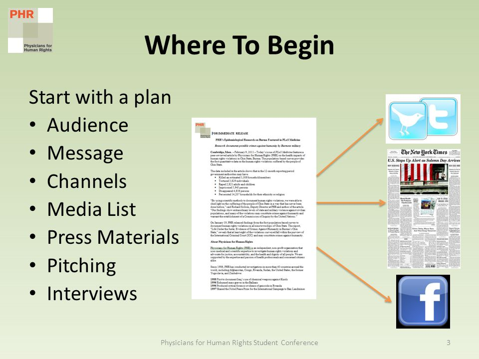 Where To Begin Start with a plan Audience Message Channels Media List Press Materials Pitching Interviews 3Physicians for Human Rights Student Conference