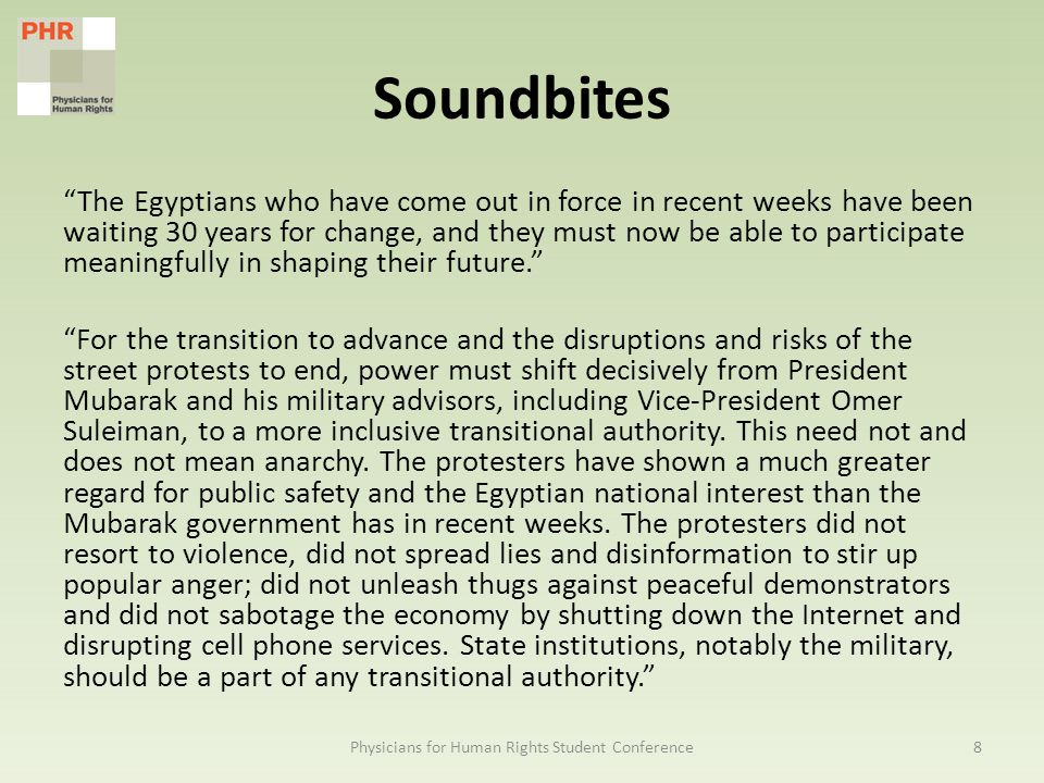 Soundbites The Egyptians who have come out in force in recent weeks have been waiting 30 years for change, and they must now be able to participate meaningfully in shaping their future. For the transition to advance and the disruptions and risks of the street protests to end, power must shift decisively from President Mubarak and his military advisors, including Vice-President Omer Suleiman, to a more inclusive transitional authority.