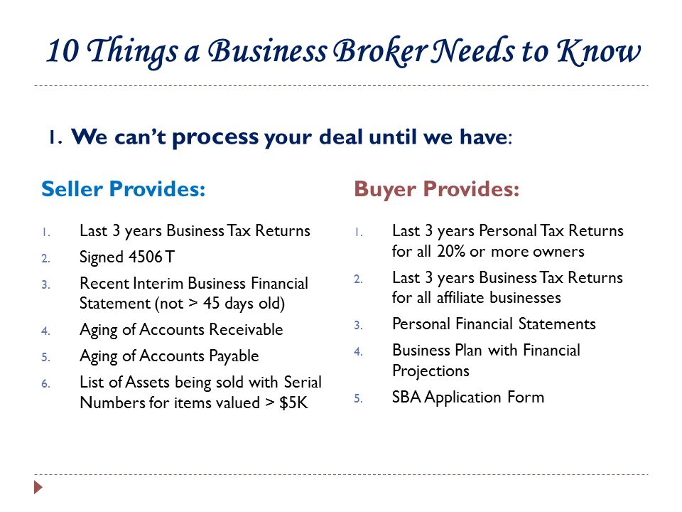 What a Broker needs to know – Buyer Cash : 2.